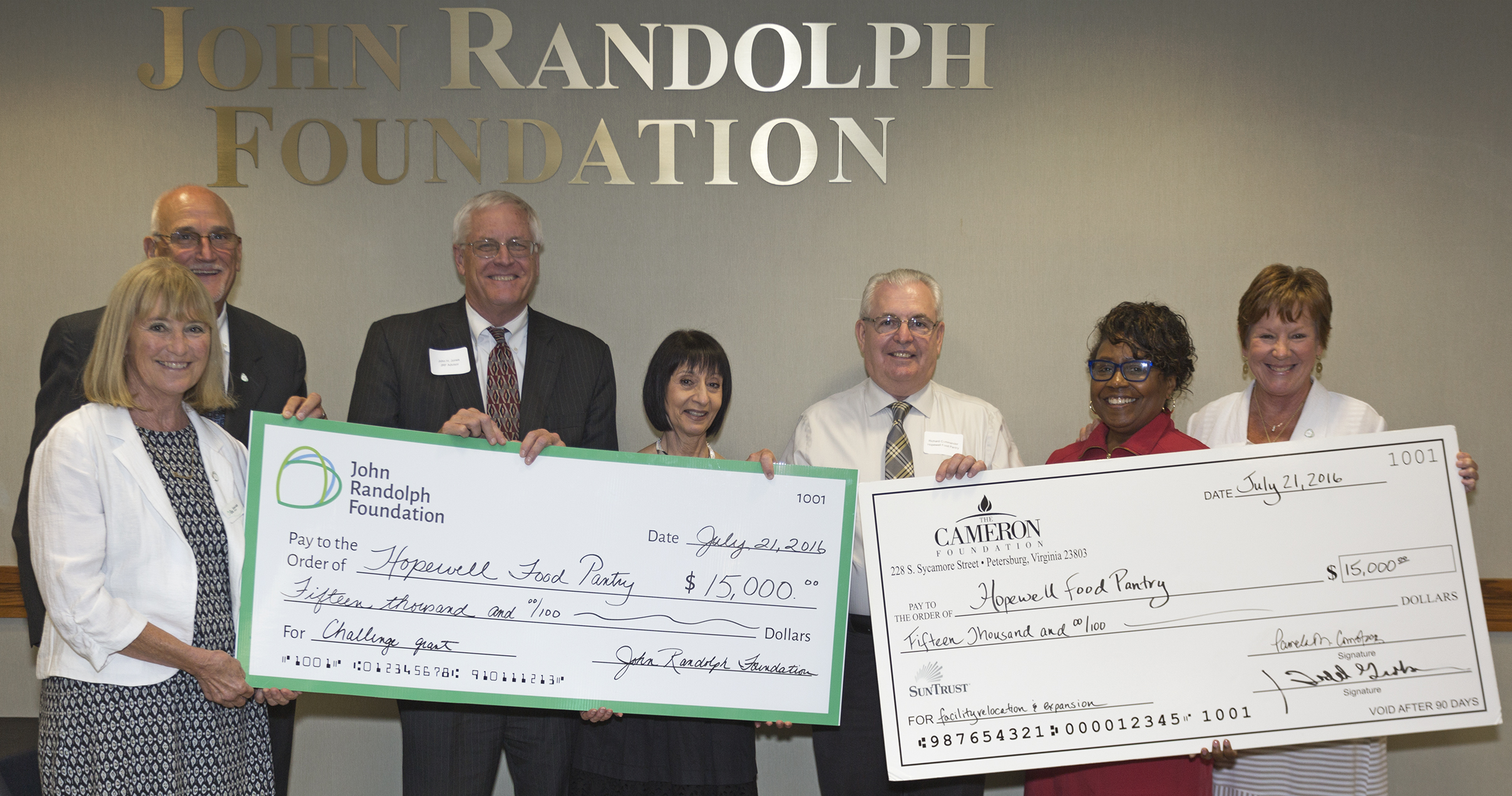 Cameron Foundation and John Randolph Foundation Partner to Give Grant to the Hopewell Food Pantry